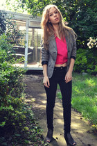 Topshop jeans - Urban Outfitters blazer - vintage top - Urban Outfitters heels