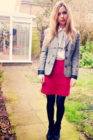 H&M skirt - next boots - Urban Outfitters blazer - random brand shirt
