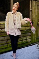 Seashells vintage jacket - asos boots - Seashells vintage coat - Topshop jeans
