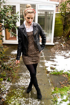 bf shirt - next boots - Topshop dress - Miss Selfridge jacket