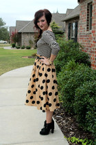 polkadot windsor skirt - buckle Target boots - striped H&M top