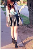 leather Forever 21 skirt - military Forever 21 boots - Idylle vest