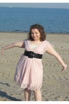 pink Pinky dress - black linea pelle belt - pink Forever 21 earrings