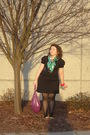 Black-dress-green-ed-hardy-scarf-black-tights-purple-purse-black-shoes