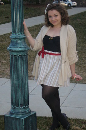 beige xhilaration cardigan - beige made by a sweet little old lady skirt - black