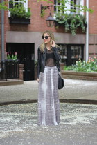 eggshell Reiss skirt - black leather jacket Doma jacket - black satchel Joie bag