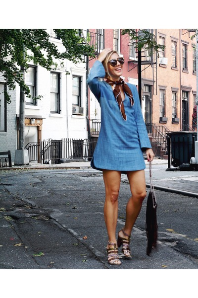 sky blue Zara dress - tan vintage heels - brown tortoise shell glasses
