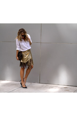 gold fringe Tamara Mellon skirt - white button up Anthropologie shirt