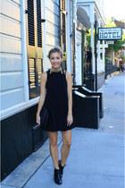 black booties sam edelman boots - black mini dress Nasty Gal dress