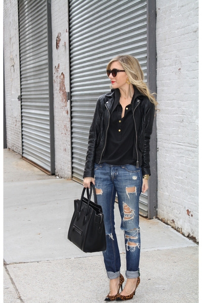 black tote Celine bag - navy Jeans jeans - black leather jacket Doma jacket