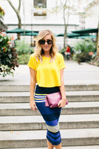 yellow crop top Ronny Kobo top - magenta clutch GiGi New York bag