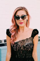 black lace dress vintage dress - bubble gum leopard print Zimmermann bodysuit