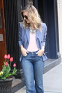 Light-blue-flares-mcguire-jeans-light-brown-classic-gucci-bag
