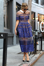 black structured m2m purse - purple lace dress Self Portrait dress