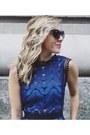 Blue-lace-dress-self-portrait-dress-black-embellished-vintage-bag