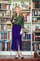 purple fringe Tamara Mellon skirt - olive green camo ernest sewn shirt