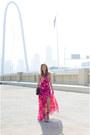 Hot-pink-maxi-dress-dvf-dress-black-oversized-bag