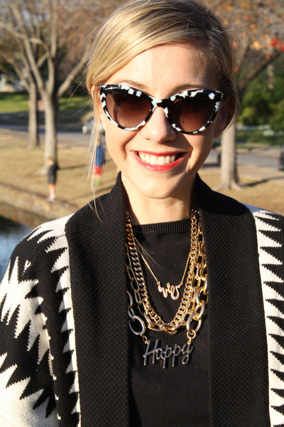 statement gold Bauble Bar necklace - Sanctuary sweater - Miu Miu sunglasses