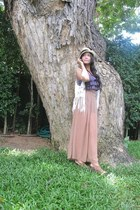 camel pants - light brown H&M hat - ivory Forever 21 vest