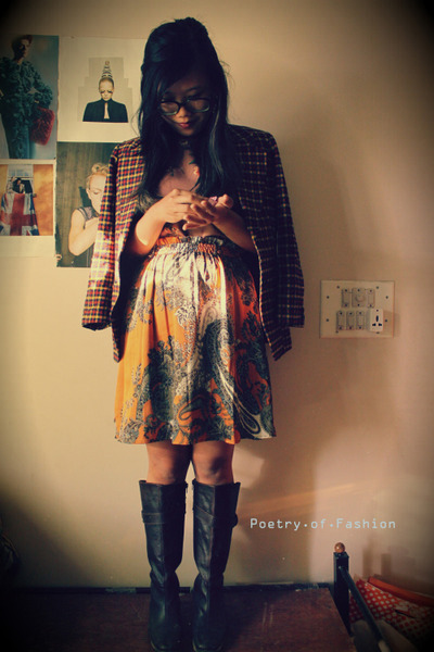 orange checks thrift blazer - Zara top - paisley print Arrow skirt