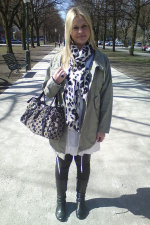 green Monki coat - H&M scarf - vagabond boots - armani purse