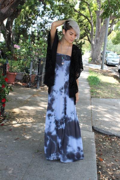 silver vintage necklace - gray Love Tanjane dress - black Forever 21 cardigan