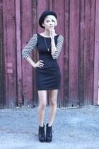 black Breckelles boots - black Thera dress - black unknown hat