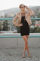 beige leather jacket - beige cut out boots - black leopard print dress