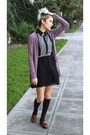 Black-urban-outfitters-dress-black-knee-high-unknown-socks