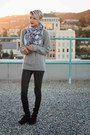 Crimson-lace-up-boots-silver-wool-cable-knit-sweater-silver-skull-h-m-scarf