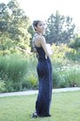 Charcoal-gray-backless-nasty-gal-dress-bronze-handmade-necklace