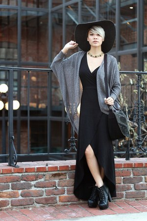 black lita style boots - black wrap dress - gray wool H&M hat