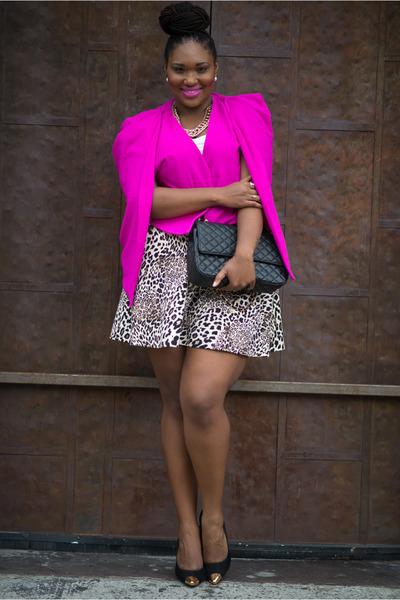black Shoedazzle pumps - hot pink Boohoo blazer - camel fashion to figure skirt