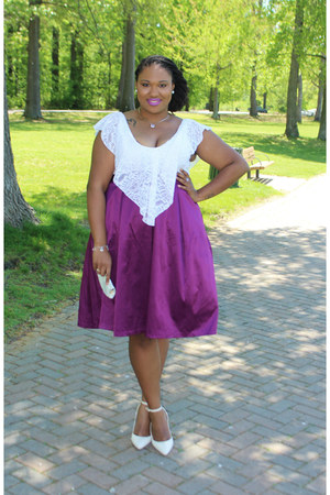 purple Eloquii skirt - ivory Promgirlcom bag - white Charlotte Russe top