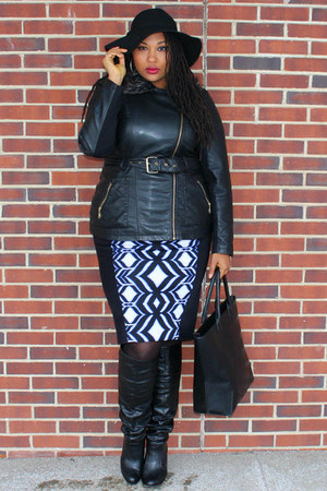 black Shoedazzle boots - black City Chic coat - black Forever 21 bag