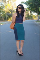 teal Opening Ceremony skirt - bronze Louis Vuitton bag - navy crop top asos top
