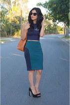 teal Opening Ceremony skirt - bronze Louis Vuitton bag - navy crop top asos top