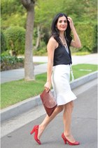 white vintage skirt - brick red Cartier bag - black madewell top