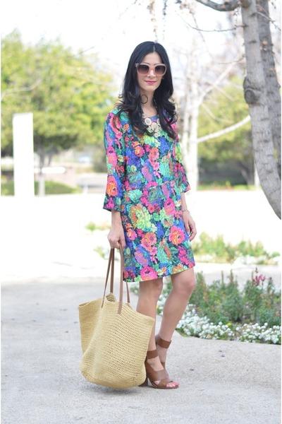 hot pink Anthropologie dress - camel Shoedazzle heels