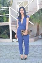 brown Clare Vivier bag - black Miu Miu heels - navy lulus jumper