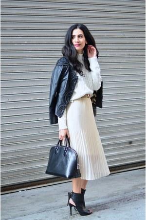 ivory thrifted vintage skirt - black Anthropologie jacket