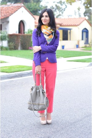 gold Shawlsmith London scarf - deep purple JCrew blazer