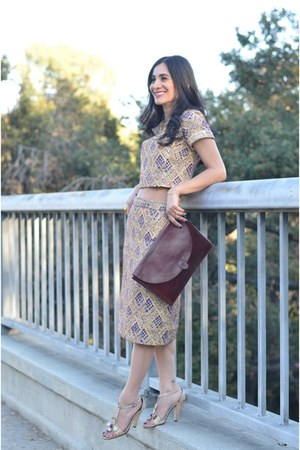 deep purple vintage skirt - crimson Cartier bag - deep purple vintage top