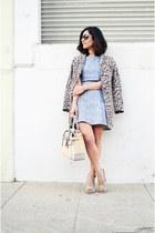 neutral Reed Krakoff bag - sky blue lulus dress - brown H&M coat