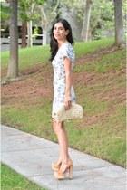 camel vintage bag - sky blue Reformation dress - bronze Shoedazzle heels