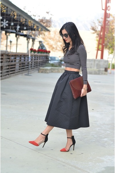 black H&M skirt - brick red vintage bag - red Zara heels