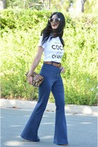brown Clare Vivier bag - white Style Lately top - navy Alice  Olivia pants