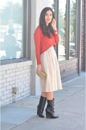 neutral vintage skirt - black Giuseppe Zanotti boots