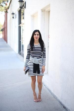 silver Sheinside sweater - navy JCrew dress - black Clare Vivier bag