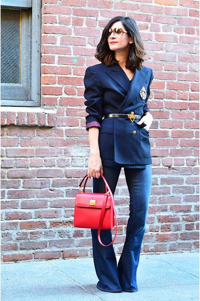 navy vintage blazer - blue J Brand jeans - red Celine bag